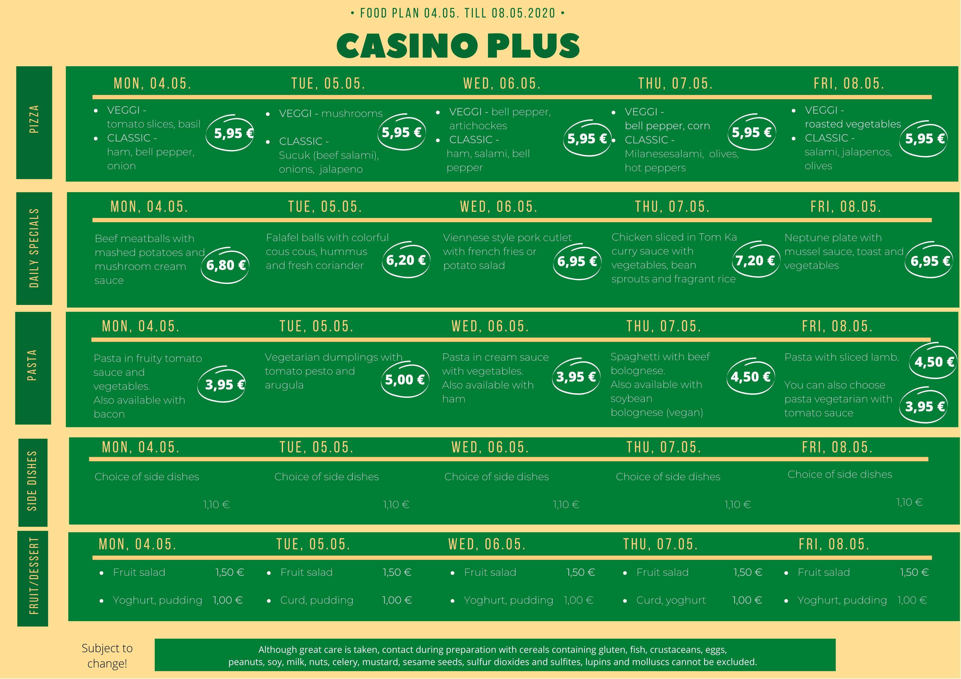 Casino Speiseplan
